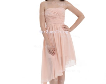 Pearl Pink Strapless Bridesmaid Dress,Asymmetrical Chiffon Dress
