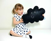 MR HAPPY CLOUD - Black Rain Cloud Cushion / Pillow Baby Nursery Kids Bedroom