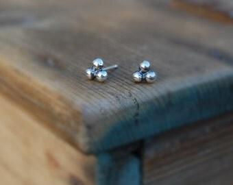 Tiny Sterling Silver Nugget Post Stud Minimalist Earrings