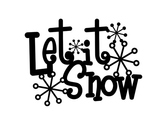 Let It Snow Metal Sign with Snowflakes Black 13.5x10