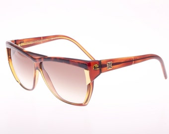 Laura Biagiotti Vintage ladies flat top sunglasses, brown, gold & frogskin effect, New from deadstock