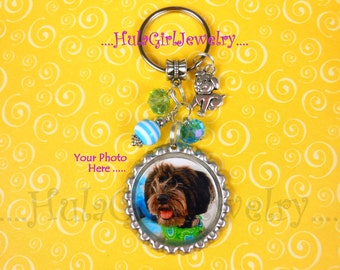 Photo Key Chain, Pet, Dog, Puppy, Bottle Cap Keychain
