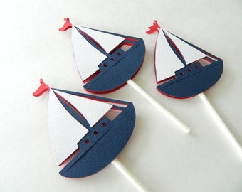 24 Sailboat Cupcake Toppers, Nautical Cupcake Toppers, Sailboats
