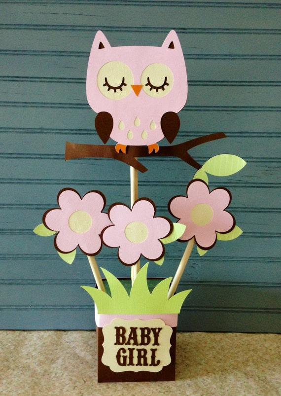 Owl baby shower centerpiece for Baby shower owl decoration ideas