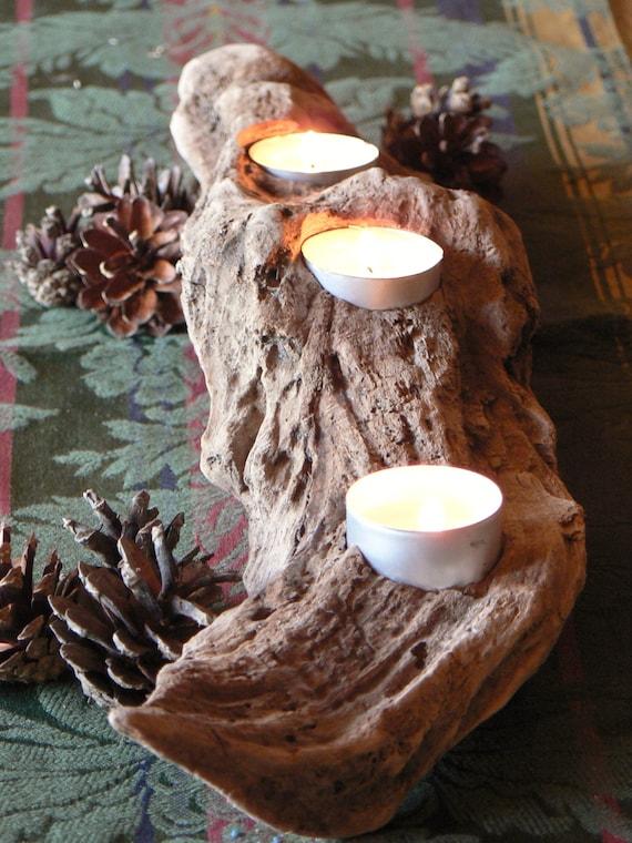 Driftwood votive candle centerpiece mantle holder