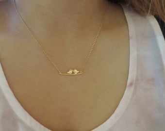 Two Sweet Birds on Branch in Gold Necklace • Little Love Kissing Birdies Sparrows on Twig Branch • Bridal Wedding Family Friendship Jewelry