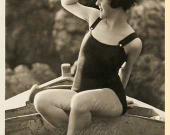 Girl in 1920s Swimsuit  - Instant Digital Download D326