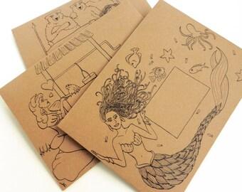 Set of 3 Fairytale Mail Art DIY Envelope Templates: Mermaid, Goldilocks + 3 Bears, Frog Prince   Hand-Drawn