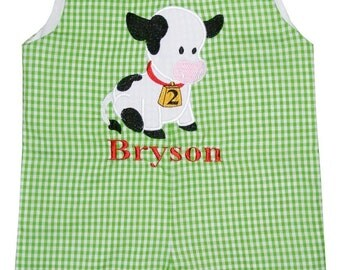 BOY'S BIRTHDAY Farm Barnyard Cow with Bell First Birthday and Beyond John John, Longall, or Outfit