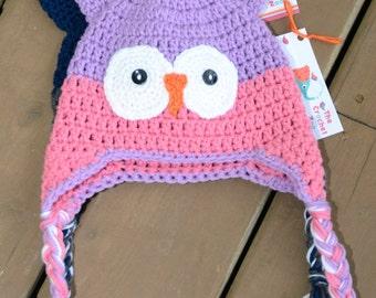 Crochet Owl Hat, Baby Girl Owl Hat, Girl Owl Hat, Newborn Photo Prop