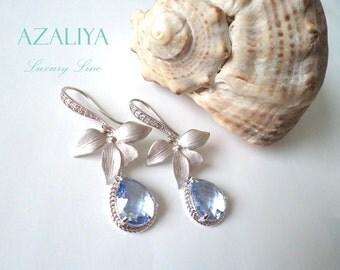 Aquamarine Orchid Princess Chandeliers. Aquamarine Earrings. Azaliya Luxury Line. Bridal, Bridesmaids. Aquamarine Birthstone Earrings.