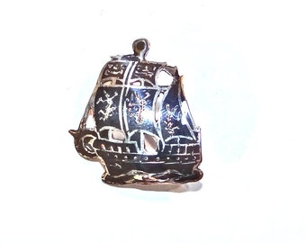 Sterling Ship Brooch Pendant - Vintage Silver Sailing Ship - Black Enamel from Siam - Columbus style Galleon
