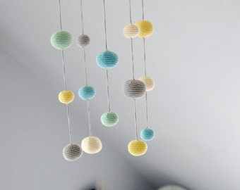 Crochet Pastel Baby Mobile - Grey/aqua/yellow/mint green Ball Mobile(5-color mobile) - Baby boy's/ girl's room decoration