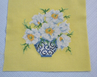 Cross stitch sampler. Unframed. Finished completed cross stitch. Anemone flowers .