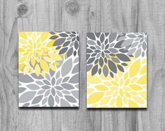 Yellow Gray Flower Petals Burst CANVAS or Print Set Home Decor or Nursery Art 8x10 11x14 5x7 Print SALE Large Wall Art Abstract Art Floral
