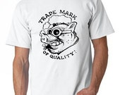 "X-Large Men's T-shirt with ""Trade Mark of Quality"" logo - White - Available for immediate shipping"