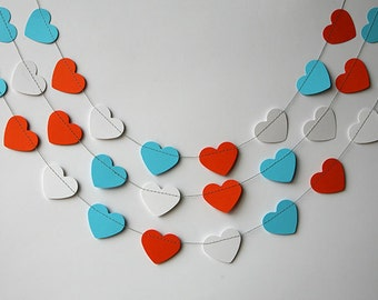 Orange aqua white garland, Circus party decor, Wedding garland, Heart garland, Valentine decor, Paper garland, Birthday decoration, KCO-3037