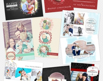 Christmas Card Templates for Photographers - 5 x 7 Flat Cards - Christmas Joy Bundle