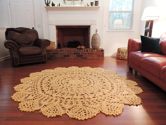 Items Similar To Extra Large Crochet Doily Lace Rug, Soft