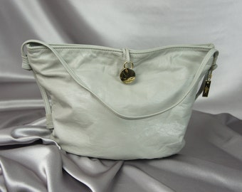 Letisse bag, 70's shoulder bag, light gray bag, retro gray bag, gray shoulder bag, bucket purse, gray and gold bag, vintage purse.