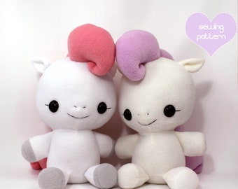"PDF sewing pattern - Pony Horse Unicorn Pegasus stuffed animal - cute kawaii anime soft toy plush plushie MLP my little pony 18"""