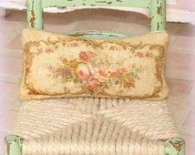 Dollhouse Miniature, Floral Aubusson Cushion, Dolls House Pillow, French Decor, Shabby Cottage Chic, 1:12th Scale