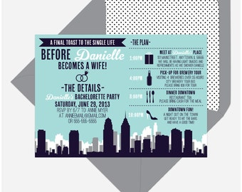 Printable Modern City Skyline Bachelorette Party Invite - Customizable for your event