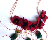 Hand Felted Red, Green, Black and Yellow Blossom Necklace