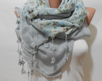 Blue Floral Scarf Shawl Light Blue Scarf Women Cowl Scarf Winter Scarf Boho Scarf Valentines Day Gift Ideas For Her Women Fashion Accessory