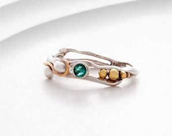sterling silver ring, Emerald ring, gold ring, brass ring, green ring, gemstone ring, mixed metals ring, organic ring, handmade ring
