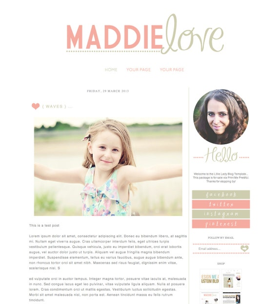 blogger template inc blog elements and xml maddie love simple