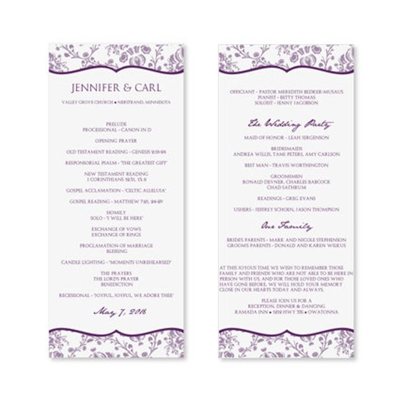 Free Printable Wedding Program Templates: INSTANT DOWNLOAD Wedding Program Template By