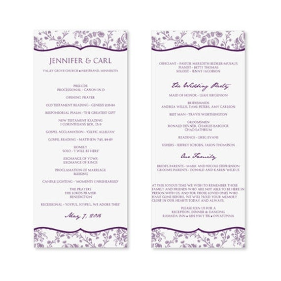 instant download wedding program template by diyweddingtemplates. Black Bedroom Furniture Sets. Home Design Ideas