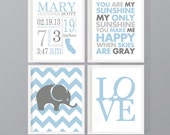 blue gray personalized baby decor gift for new parents baby boy birth stats birth details new baby print birth sign boy nursery birth art