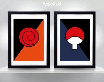 Naruto Poster, Uzumaki & Uchiha clan symbols, Minimalist Print, Anime Poster, Wall Art, Art Print, Wall Decor, Digital Art