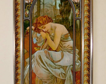 Alphonse Mucha - Night, Stained glass, Vacation until 18. September