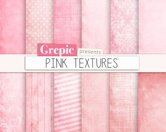 """Pink digital paper: """"PINK TEXTURES"""" with pink grungy paper, dirty backgrounds, old paper, grunge, vintage, sweet, romantic texture patterns"""