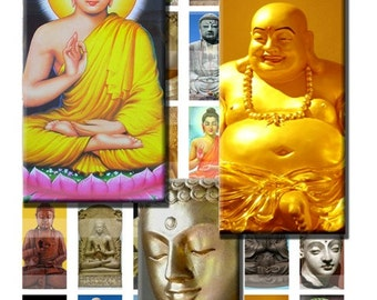 Buddha Faces Buddhist Zen Digital Images Collage Sheet 1x2 inch Rectangles Domino Commercial INSTANT Download RD07