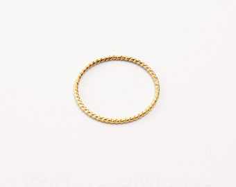 Thin and Dainty Yellow 14k Gold Filled Rope Stacking ring (18 gauge)
