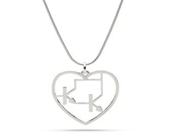Darlington transistor silver heart necklace - Tech lovers - Electronics - Techy pendant - sterling silver chain