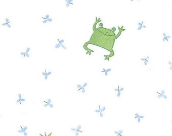 Playful Frogs Wallpaper - Fun, Whimsical, Frog Prince, Crown, Fairytale, Green, Blue, White - Wallpaper By The Yard - IF2528