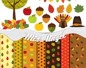 Fall Autumn Clipart, digital Thanksgiving: Printable leaves, tree, acorns, apples, turkey, hat, banners. 16 illustrations and 7 paper sheets
