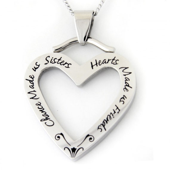 Chance made us sisters heart pendant necklace sister gifts like this item mozeypictures Gallery