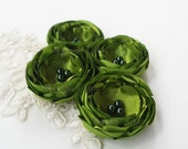 Small Fabric Flowers, Handmade Olive Green Satin Flowers, Petite Green Flowers, Appliques Embellishments with Dark Green Pearl Beads - SALE