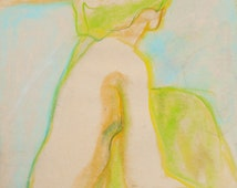 "Pastel Figure Drawing, Giclee Print, Female Nude, Original, Life Drawing, Vintage, Bathroom Decor, 1970's Art, 8"" X 10"" - ""Pastel Nude"""