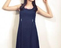 Blue sun dress , Women dress , Navy dress , Casual dress , Day dress , Scoop neck dress , Knee length dress , A line dress