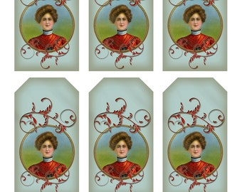 CIGAR GIRL TAGS - 6 on sheet - Instant Download - Victorian Image