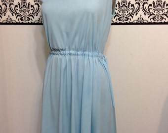 1960's Powder Blue Vintage Hipster Drawstring Dress by Sunshine Alley , Size Medium / Large, Vintage Pin Up / Mad Men dress