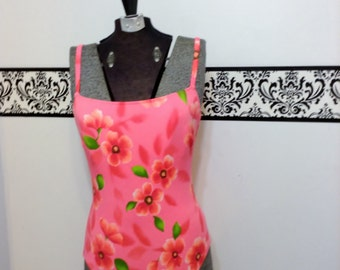 1980's Hot Pink Grunge Floral Swimsuit, Size 10, Vintage Pink One Piece Swimsuit by Sessa, Punk Courtney Love Vintage Onepiece Bathing Suit