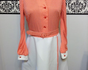 1970's Red and White Polka Dot Mod Wrap Dress by Jerri Lurie, Size Medium,  Vintage 1960's / 1970's Mad Men Day Dress, Mod / Twiggy